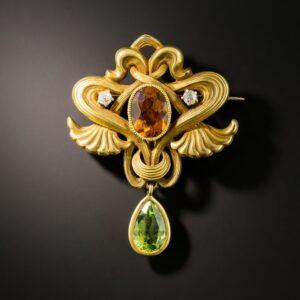 Art Nouveau Citrine and Peridot Brooch.