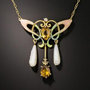 Art Nouveau Citrine, Diamond, and Enamel Necklace, Ehrlich & Sinnock.