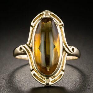 Art Nouveau Citrine Ring.