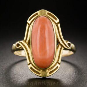 Art Nouveau Coral Dinner Ring.