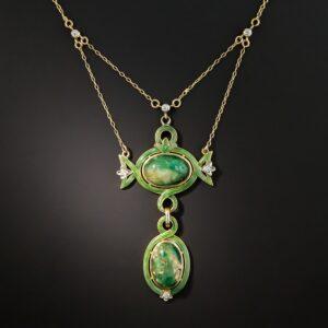 Art Nouveau Emerald and Diamond Lavaliere.
