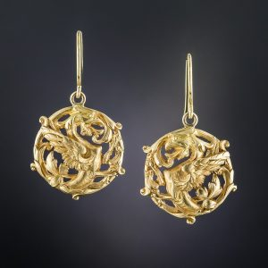 Art Nouveau Griffin Earrings.