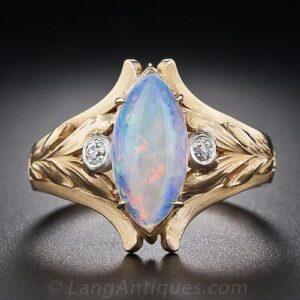 Art Nouveau Navette-Shaped Opal Ring.