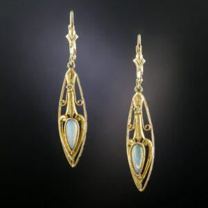 Art Nouveau Opal Earrings.