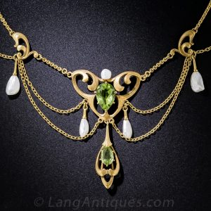 Art Nouveau Peridot and Freshwater Pearl Swag Necklace.