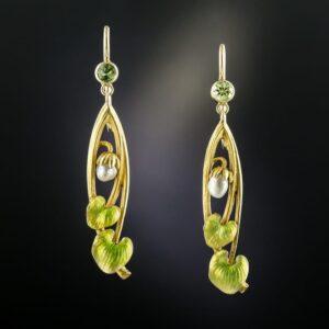 Art Nouveau Peridot and Pearl Earrings.