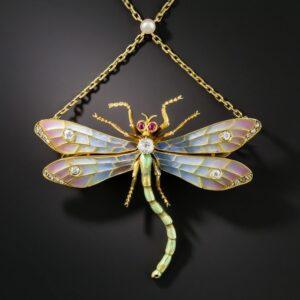 Art Nouveau Diamond and Plique-a-Jour Dragonfly Pendant-Brooch.