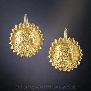 Art Nouveau Sunflower Earrings.