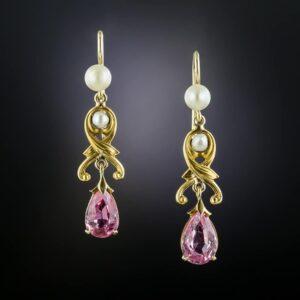 Art Nouveau Tourmaline and Pearl Earrings.