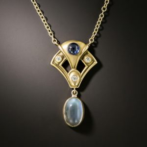 Arts & Crafts Sapphire, Diamond, and Moonstone Necklace.
