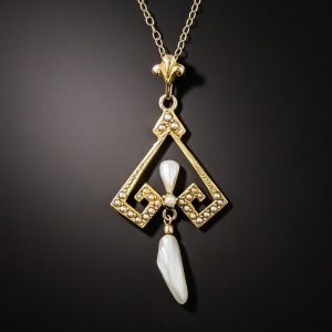 Arts & Crafts Pearl Pendant Necklace.