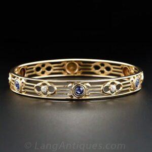 Arts & Crafts Sapphire and Diamond Bangle Bracelet, Whiteside & Blank.