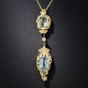 Arts & Crafts Aquamarine Pendant Necklace.