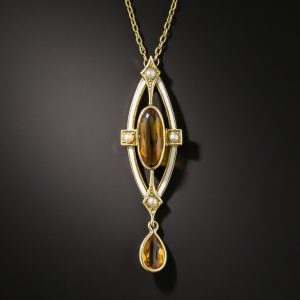 Arts & Crafts Citrine, Pearl, and Enamel Necklace, Hagerstrom & Son.