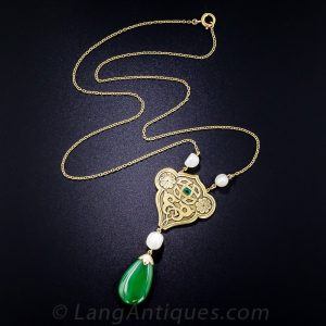 Arts & Crafts Jade, Pearl, and Emerald Pendant Necklace.
