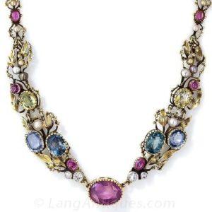 Arts & Crafts Fancy Color Sapphire Necklace.