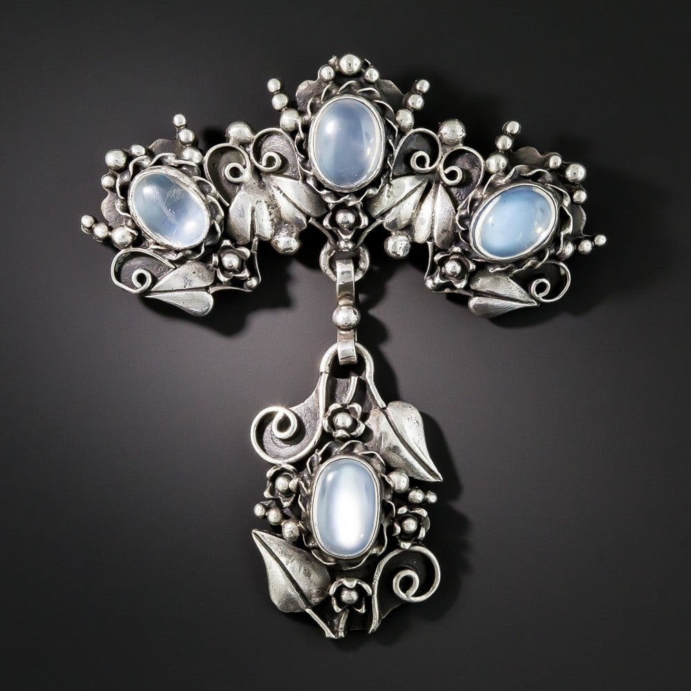 Arts & Crafts Moonstone and Silver Pendant-Brooch.