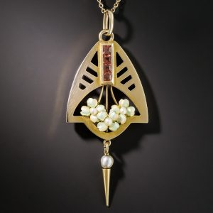 British Arts & Crafts Enamel Pendant Necklace.