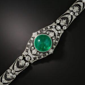 Edwardian Emerald and Diamond Bracelet.