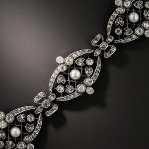 Edwardian Diamond and Pearl Bracelet.