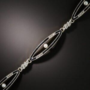 Edwardian Onyx, Pearl, and Diamond Bracelet.