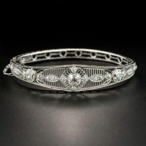 Edwardian Diamond Hinged Bangle Bracelet.
