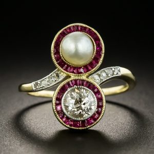 Edwardian Diamond, Ruby, and Pearl Ring.