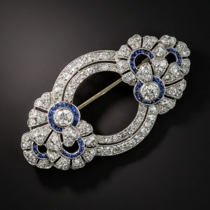 French Art Deco Diamond and Sapphire Brooch.