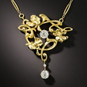 French Art Nouveau Diamond Necklace.