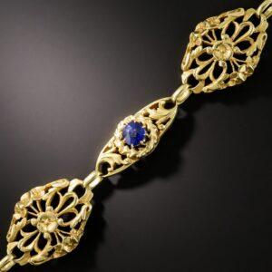 French Art Nouveau Sapphire and Diamond Bracelet.