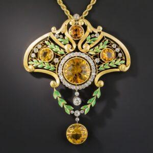 French Art Nouveau Citrine and Diamond Lavaliere.