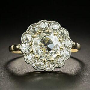 Late Victorian Diamond Halo Ring.