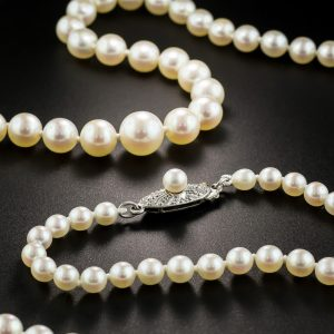 Mikimoto Cultured Pearl Necklace Exhibiting Excellent Luster.