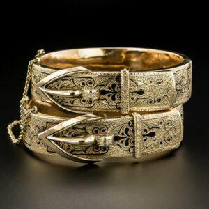 Pair of Victorian Black Enamel Buckle Motif Bracelets.