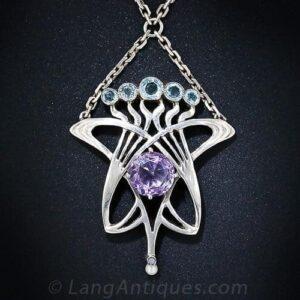 Arts & Crafts Silver Pendant Necklace.