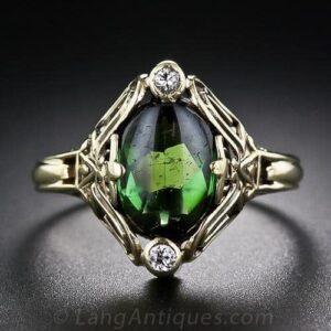 Arts & Crafts Tourmaline and Diamond Ring.
