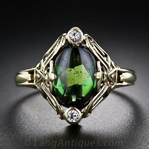 Arts & Crafts Tourmaline and Diamond Ring.
