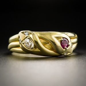Victorian Ruby and Diamond Double Snake Ring.
