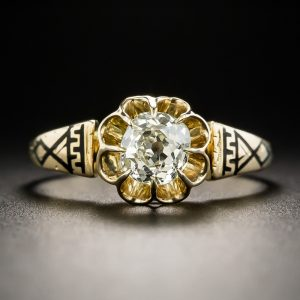 Victorian Diamond and Enamel Solitaire Ring.