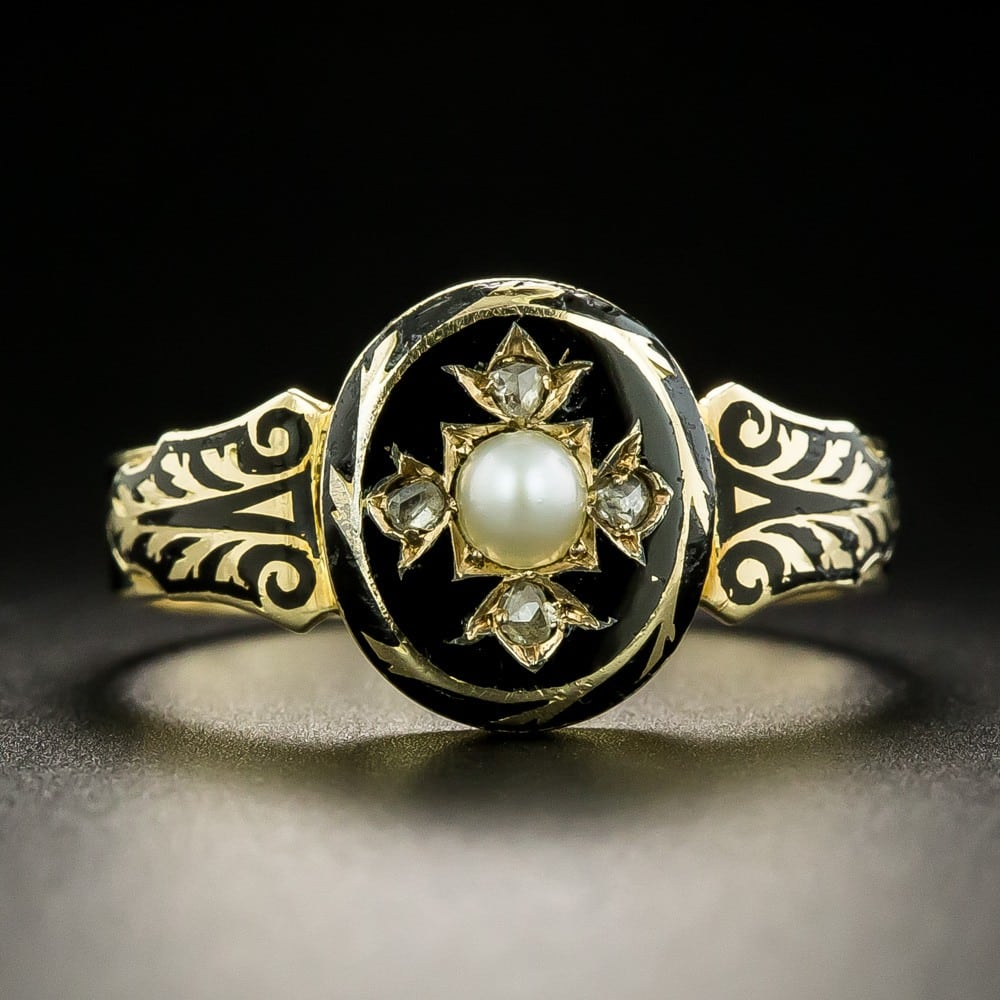 Victorian Black Enamel and Gold Mourning Ring