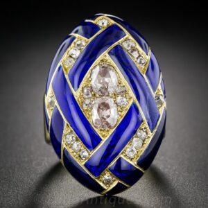 Victorian Diamond and Cobalt Blue Enamel Locket Ring.