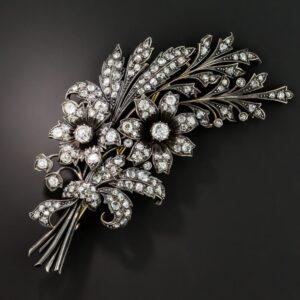 Victorian Diamond Floral Spray Brooch.