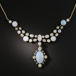 English Victorian Opal and Diamond Festoon Necklace.