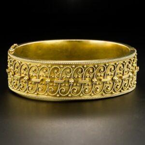 Victorian Etruscan Revival Bangle Bracelet.