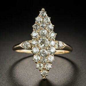 Victorian Diamond Navette-Shaped Dinner Ring.