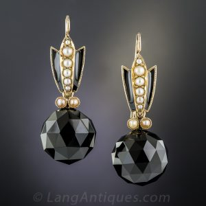 Victorian Onyx and Seed Pearl Mourning Earrings.