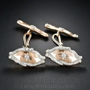 Victorian Diamond, Platinum, and Rose Gold Wood Motif Cuff Links.