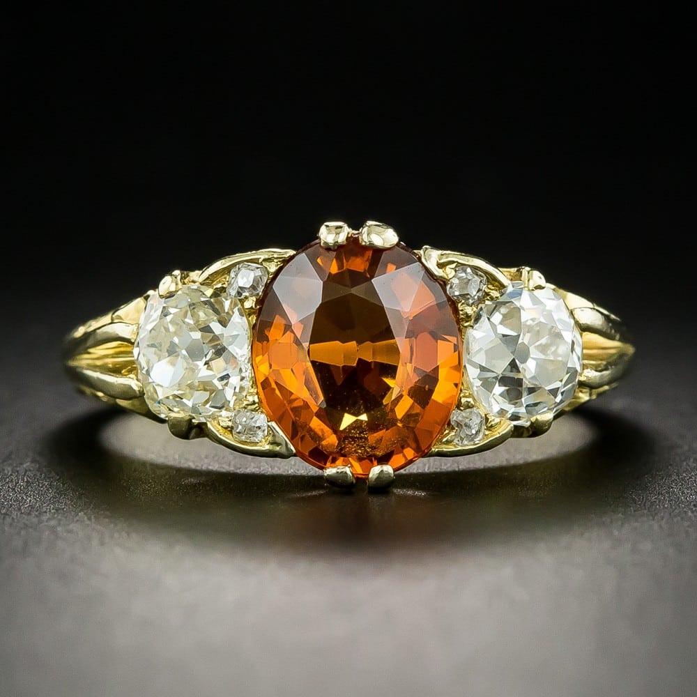 Victorian Style Spessartine Garnet and Diamond Ring.