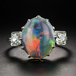 Vintage Black Opal and Diamond Ring Exhibiting Play-of-Color.