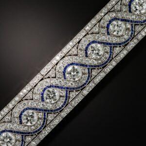 Art Deco Diamond and Calibre Sapphire Bracelet.